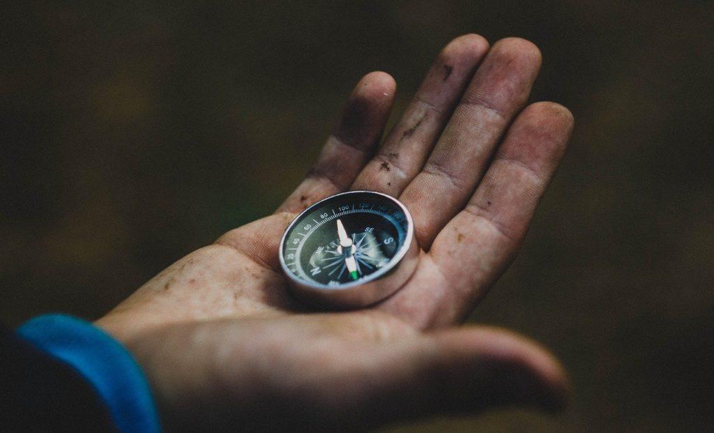 compass, hand, travel